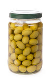 Green olives preserved in bank Royalty Free Stock Photo