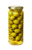 Green olives preserved. In bank bottle isolated on a white background Royalty Free Stock Photography