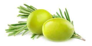 Green olives and rosemary Royalty Free Stock Image