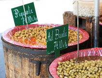 Green olives for sale Stock Photos