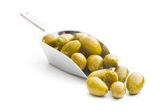 Green olives in scoop Royalty Free Stock Photos