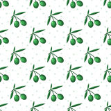 Green olives seamless pattern stock image