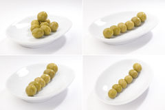 Green olives, set of full-size images Stock Image