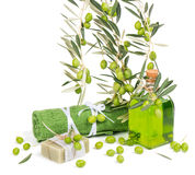 Green olives for spa Royalty Free Stock Images