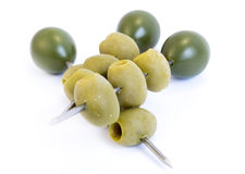 Green olives sticks Royalty Free Stock Photos
