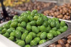 Green olives in in the store Stock Photography