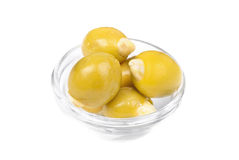Green olives stuffed with almonds Royalty Free Stock Image