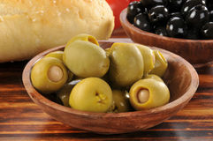 Green olives stuffed with anchovies Royalty Free Stock Images