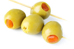 Green olives stuffed with pepper Stock Images