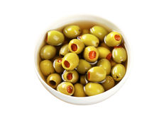 Green olives stuffed with pimento Stock Photography