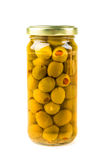 Green olives stuffed with pimiento. Isolated on white background Royalty Free Stock Photos