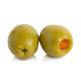 Green olives stuffed with red paprika isolated on white Royalty Free Stock Photography