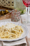 Green olives, thyme and parmesan pasta Royalty Free Stock Photo