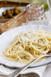 Green olives, thyme and parmesan pasta Royalty Free Stock Photography