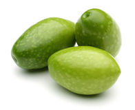 Green Olives. On white background Royalty Free Stock Images