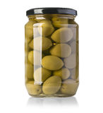 Green olives on a white background in bottle. With clipping path Stock Images