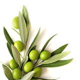 Green olives on white Royalty Free Stock Photo