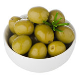 Green olives in a white ceramic Stock Image