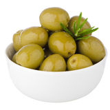 Green olives in a white ceramic Stock Photo