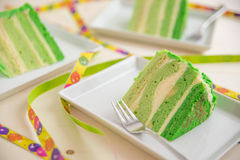 Green ombre layer cake Stock Photo