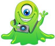 green one eye slime alien monster vector illustration
