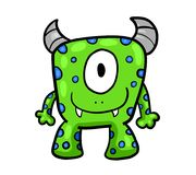 Green One Eyed Monster. Digital illustration of a green monster Stock Photography