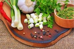 Green onion, garlic, parsley, chili pepper on cutting board Royalty Free Stock Photography