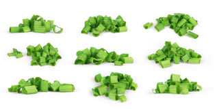 Green onion herb chopped set on white.  Royalty Free Stock Images