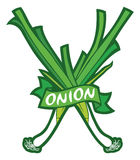 Green onion label Royalty Free Stock Photography