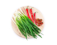 Green onion with red pepper Stock Photo