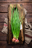 Green onion or scallion on wooden board, fresh spring chives. Top view stock photos