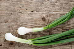 Green onion on wood Stock Photo