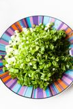 Green onions. Diced green onions in bowl royalty free stock image