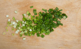 Green onions on a board Royalty Free Stock Images