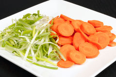 Green Onions and Carrots Prepped For Stir Fry Royalty Free Stock Image