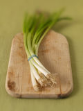 Green onions on cutting board Royalty Free Stock Image