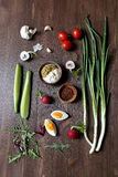 Green onions, eggs, radishes, tomatoes and sauce Royalty Free Stock Images