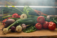 Green onions, garlic, carrots, beet and tomatoes against the background of old grey boards in fog. Fresh green onions, garlic, carrots, beet and tomatoes against stock photos