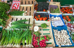 Green onions and other vegetables. At the market Stock Photography