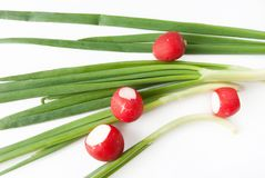 Green onions over white background Royalty Free Stock Photos