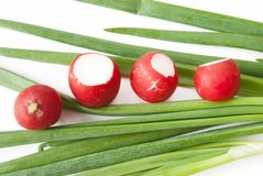 Green onions over white background. With red radish Royalty Free Stock Photo