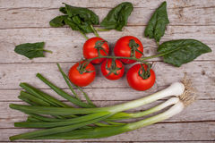 Green Onions, Tomatoes, Spinach Leaves Stock Image