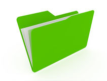 Green open folder with paper Stock Photos