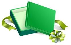 Green open gift box Stock Image