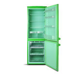 Green open refrigerator isolated on white. Royalty Free Stock Photography