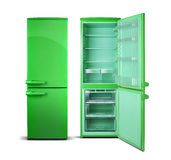 Green open refrigerator isolated on white. Royalty Free Stock Photo