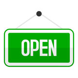 Green Open Sign Flat Icon Isolated on White Royalty Free Stock Image