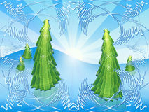Green open-work. Herringbones on snow solar background Royalty Free Stock Photo