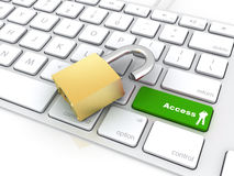 Green openbutton on keyboard with padlock Stock Images