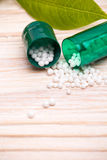 Green opened capsule with small white balls Royalty Free Stock Photo